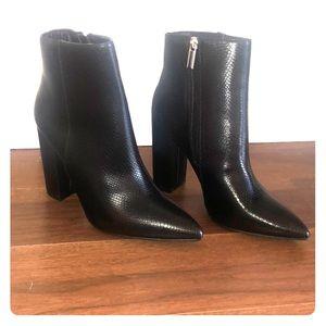 Brand new black snakeskin booties!